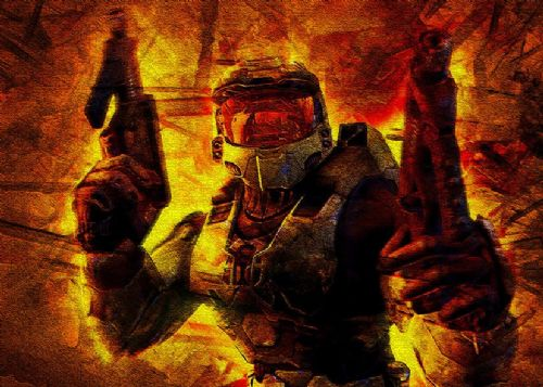 GAMES - HALO SPARTAN CRACK EFFECT FLAMES canvas print - self adhesive poster - photo print